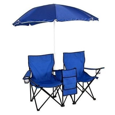 Best Choice Products Picnic Double Folding Chair with Umbrella & Table