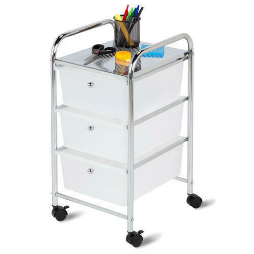 "29"" Clear Chrome Plastic Steel 3 Drawer Office Rolling Storage Cart Organizer"