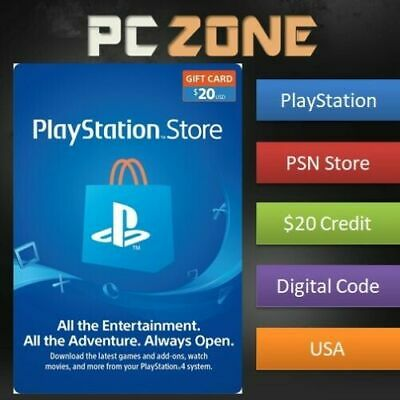 $20 PlayStation Store USD Card - PS PSN US Store - Instant Code PS4/PS3/PSP