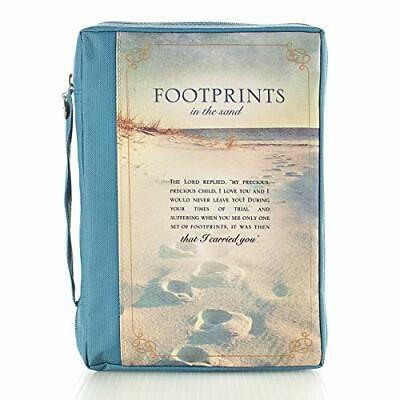 """Canvas Bible Cover """"Footprints in the Sand"""" Women Large Zippered Case w/Handle"""