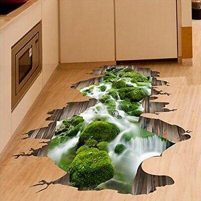 3D Stream Floor Decoration Wall Sticker Removable Mural Decals Vinyl Art Home