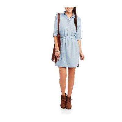 FADED GLORY Women's Belted Woven Denim Shirt Dress Solid SKY BLUE Medium 8/10