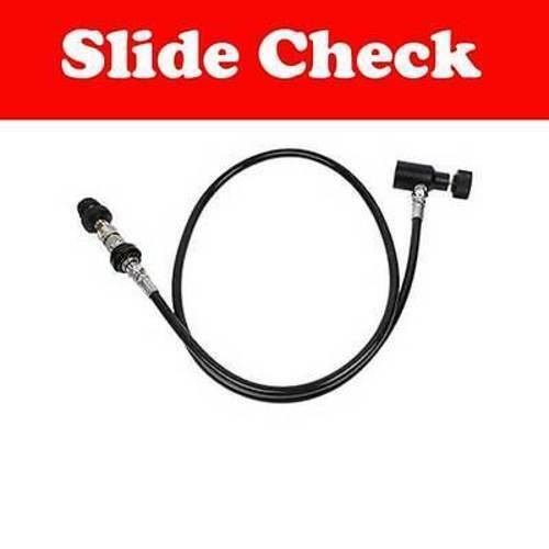 """WaveToGo Paintball 35"""" Straight Remote Coil Air Line Hose with Slide Check"""