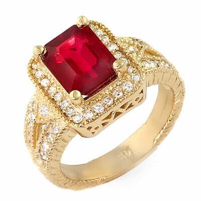 Diamond Vintage Ruby Ring (Vintage 3.2 ct natural ruby & diamond ring 14k gold )