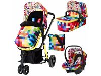 cosatto giggle 3 in 1 travel system pixellate design *does not include car seat*