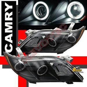 2007 2008 2009 toyota camry dual ccfl halo angel eyes projector headlights black. Black Bedroom Furniture Sets. Home Design Ideas
