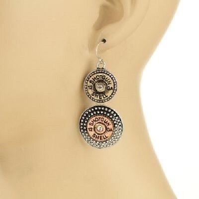 Tri Color Dangling 12 Gauge Bullet Shell Earrings 2