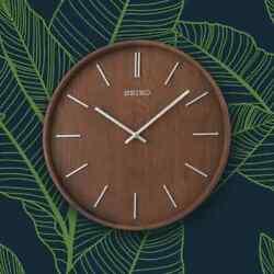 *BRAND NEW* Seiko 13 Maddox Wooden Brown Wall Clock QXA765BLH