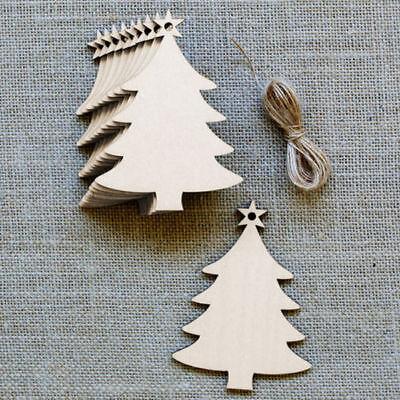 10Pcs Wooden Christmas Chip Tree Ornaments Xmas Hanging Pendant DIY Decor Pretty