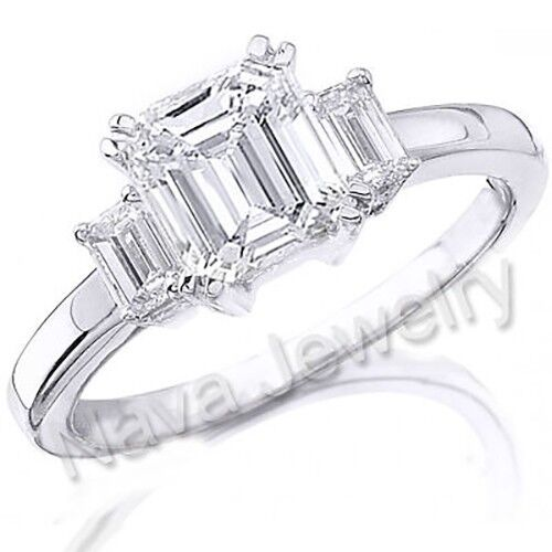 3.02 Ct. 3 Stone Emerald Cut Diamond Engagement Bridal Ring GIA Certified