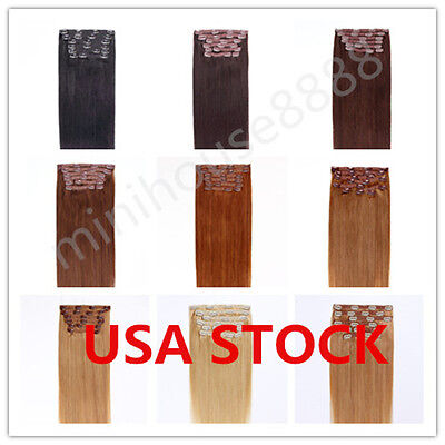 USA STOCK !Full Head 18 inch Indian Remy Human Hair Clip In Extensions