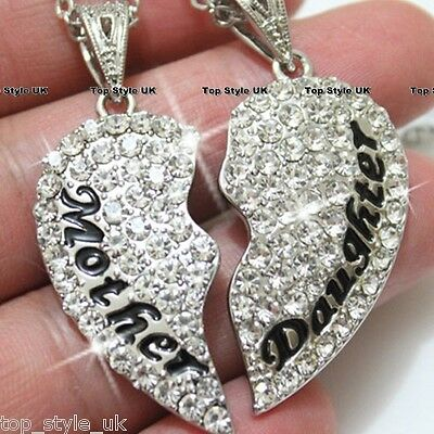 Cute Two Part Mothers Day Gift Present Necklace Crystal Diamonds Shine Beautiful