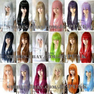 24-32-40-47-59-Long-Straight-Cosplay-Fashion-Wig-40Colors-heat-resistant