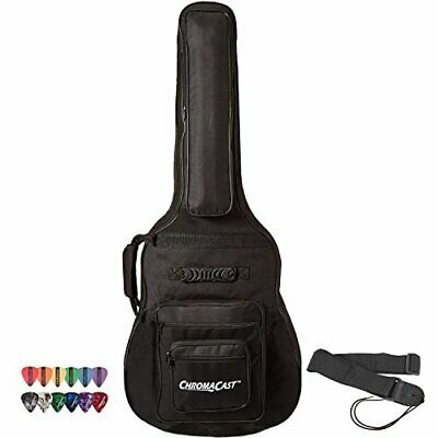 Acoustic Guitar 6-Pocket Padded Gig Bag with Guitar Strap and Pick Sampler