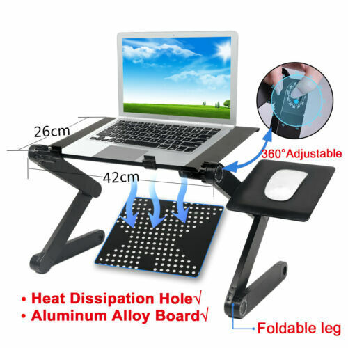 360°Adjustable Foldable Laptop Desk Aluminum Table Stand Bed Notebook Tray US