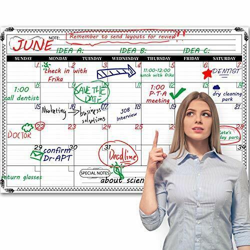 Jumbo Large Dry Erase Wall Calendar - Premium Undated Erasable 24inch x 36inch