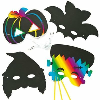 6 Pack Fun Halloween Scratch Art MASKS Kids Craft Spider Pumpkin Bat Witch