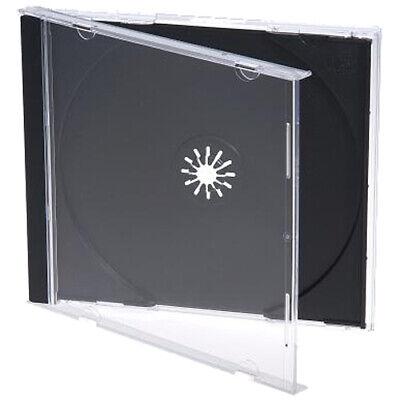 100 Standard 10.4 Mm Jewel Case Single Cd Dvd Disc Storage Assembled Black Tray