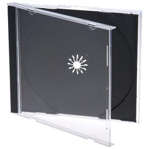 100 Standard 10.4 mm Jewel Case Single CD DVD Disc Storage Assembled Black Tray