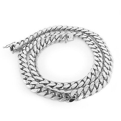 925 Sterling Silver Solid Miami Cuban Curb Link Chain Necklace Rhodium Plated