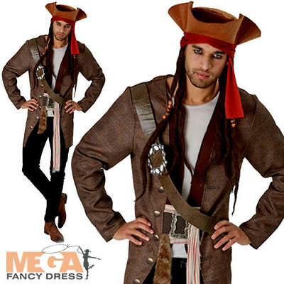 Jack Sparrow Mens Fancy Dress Pirates of the Caribbean Disney Film Adult Costume - Adult Pirate Movie