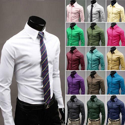 US Fashion Mens Luxury Stylish Casual Dress Slim Fit T-Shirt Casual Long Sleeve