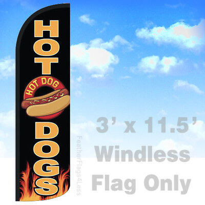 Hot Dogs - Windless Swooper Flag Feather Banner Sign 3x11.5 Kq