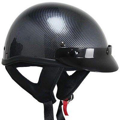 - Outlaw T69 DOT Carbon Black Motorcycle Skull Cap Half Helmet w/ Removable Visor
