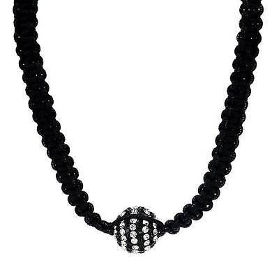 Stylish Necklace W/Crystal and Simulated gem Made in Black Enamel & Black Silk