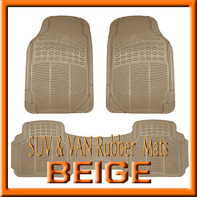 Fit TOYOTA HIGHLANDER ALL WEATHER SEMI CUSTOM TAN / BEIGE RUBBER FLOOR MATS (2006 Toyota Highlander Floor Mats All Weather)