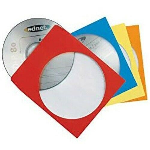 Hama 100x Stück CD DVD Blu-Ray Papier-Hüllen Farbig Hülle Sleeves Sichtfenster