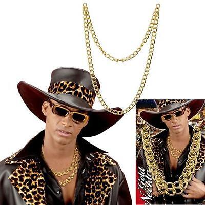 GOLDENE HALSKETTE 120 cm Hip Hop Kette Gangster Schmuck Imitat Rapper Pimp 5855