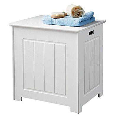 Wooden Storage Stool / Laundry Bin - White