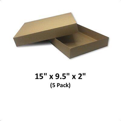 Brown Cardboard Kraft Apparel Decorative Gift Boxes 15x9.5x2 5 Pack