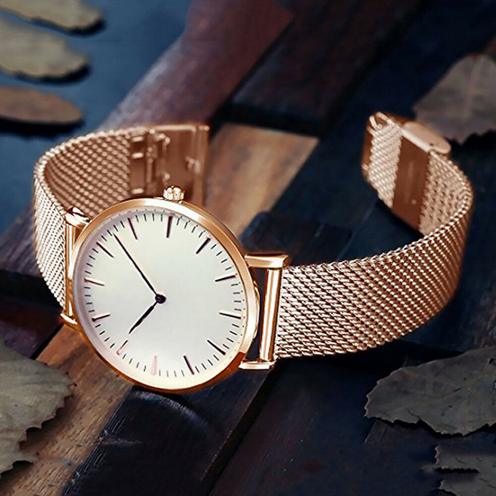 Luxury Women Men Stainless Steel Watch Analog Quartz Bracelet Wrist Watches Gift