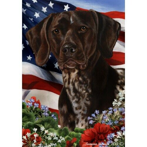 Patriotic (1) House Flag - German Shorthaired Pointer 16049