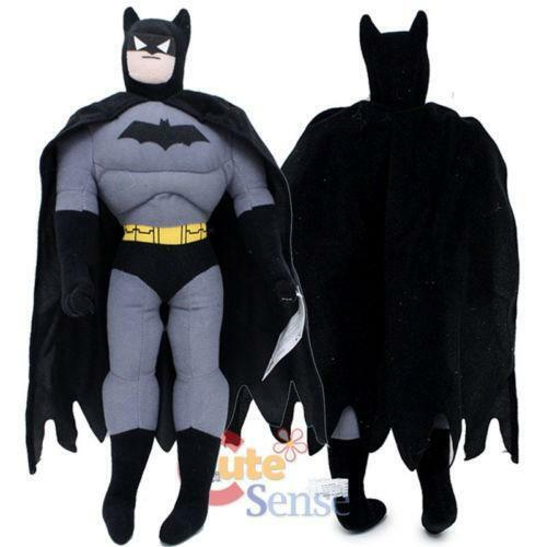 Product Features Fuzzy teddy bear with floppy arms and legs dressed up as Batman.