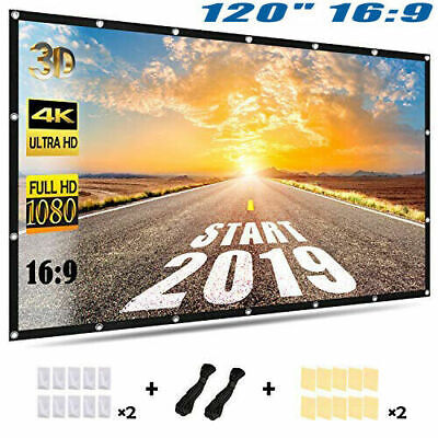 """120"""" Protject 16:9 Fixed Frame Pull Down Projector Screen Home Theatre HD 3D 4K"""