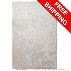 MILAN DIRECT New Large Plush Shag Floor Rug White 160x230cm Shaggy FREE DELIVERY