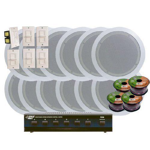 "Pyle 6.5"" In-Ceiling Speaker System, Volume Control, 6 Channel Speaker Selector"