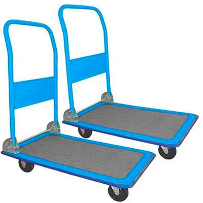 2 x 100 KG FOLDING PLATFORM WAREHOUSE TRUCK TROLLEY SACK PICKING NEW
