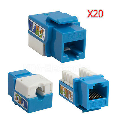 LOT OF 20 NEW Keystone Jack Cat6 Network Ethernet 110 Punchdown 8P8C Cat6 Blue