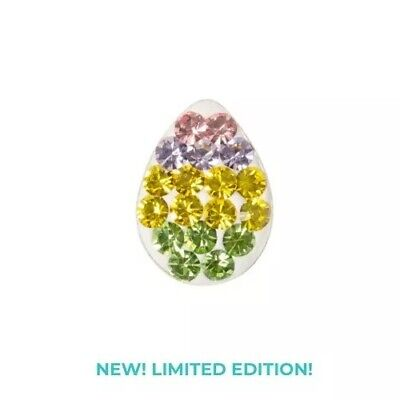 Authentic Origami Owl STRIPED EGG SPARKLE Floating EASTER Crystal Charm NEW!