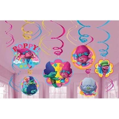 Trolls Poppy Swirl Decoration Birthday Party Supplies Dangler Pack of 12