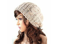 New Ladies Dark Cream Taupe Cable Knit Chunky Warm Soft Beanie Hat.