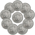 Lot of 10 - 2014 Canada 1 Troy Oz .9999 Silver Maple Leaf $5 Coins SKU30324