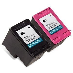 2pk Printronic For Hp 60 Ink Cartridge Combo Pack CC640WN CC643WN