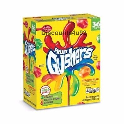 BULK Betty Crocker Fruit Gushers Strawberry & Tropical Flavors 36 pouches, Fresh