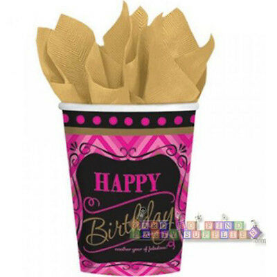 9oz To Cups (BORN TO BE FABULOUS 9oz PAPER CUPS (8) ~ Birthday Party Supplies Pink)