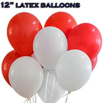 Red & White Latex Balloons 12